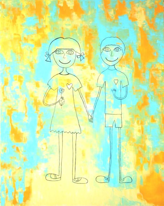 Tom et Cécé - Painting,  100x80 cm ©2014 by Ghislaine Driutti -                                        Canvas, Children