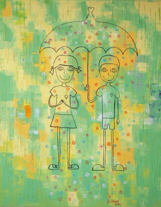 Le parapluie - Painting,  100x80 cm ©2014 by Ghislaine Driutti -                                        Canvas, Children