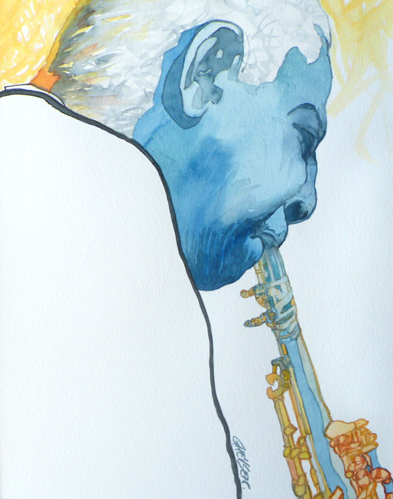 Intensité Jazz 02 - © 2010 Aquarelle, jazz, art moderne, illustration, art contemporain, colorimétrie musicale, passion pour le jazz, arts graphiques jazz Online Artworks