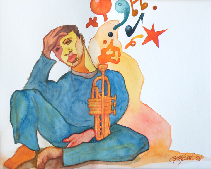 Intensité Jazz 02 - Painting,  24x36 cm ©2010 by Patrick GHEYSEN -            Aquarelle, illustration, jazz, art moderne, art contemporain