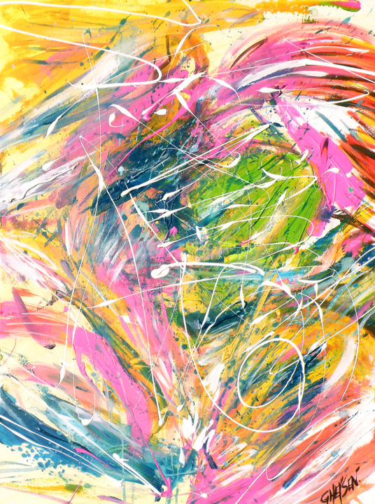 Effervescence - © 2013 Explosion de couleur - acrylique - techniques mixtes - art abstrait - art déco - art contemporain - art moderne - Patrick Gheysen Online Artworks
