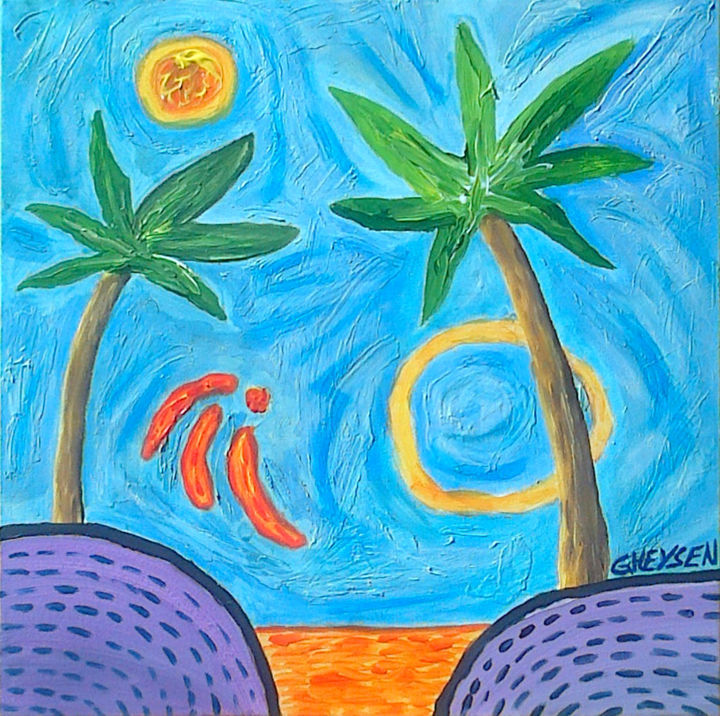Grooving Palm Trees - © 2013 Acrylique et textures mixtes : Grooving Palm Trees Online Artworks