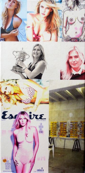 Marina-Sharapova  193 - Mixed Media,  50x25x2 cm ©2018 by Ghezzi -                                                                        Pop Art, Paper, Canvas, Performing Arts, Marina Sharapova joueu.tennis, Atelier Chandieu 2013, ghezzi sculpteur peintre, swiss sculptor, geneva, suisse svizzera