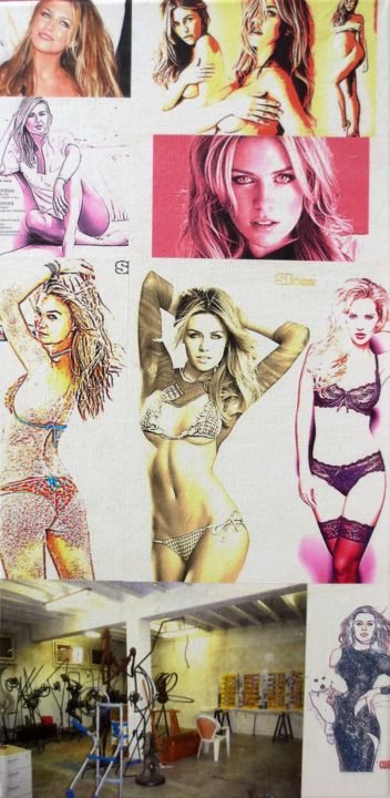 Abbey-Clancy 194 - Mixed Media,  50x25x2 cm ©2018 by Ghezzi -                                                                        Pop Art, Paper, Canvas, Performing Arts, Abbey Clancy 194 Mannequin, Atelier Chandieu 2013, ghezzi sculpteur peintre, swiss sculptor, geneva, suisse svizzera
