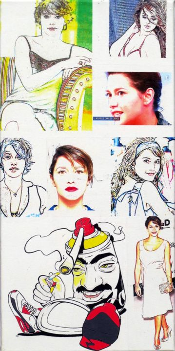 Emma de Caunes actrice 255 - Collages,  19.7x9.8x0.8 in ©2019 by Ghezzi -                                            Pop Art, Performing Arts, Emma de Caunes actrice, 21-22 ues  septembre 2018, Genève Pump up the jam, volume 3.ghezzi, swiss sculptor peintre, geneva Suisse