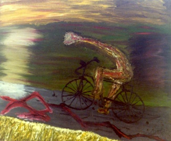 """Painting titled """"Bicicletta"""" by Ghezzi, Original Art, Oil"""