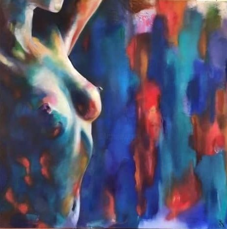 VIC.jpg - Painting,  1,000x1,000x3 cm ©-2 by ghislaine moitry-dieval -                                                        Fauvism, Canvas, Nude