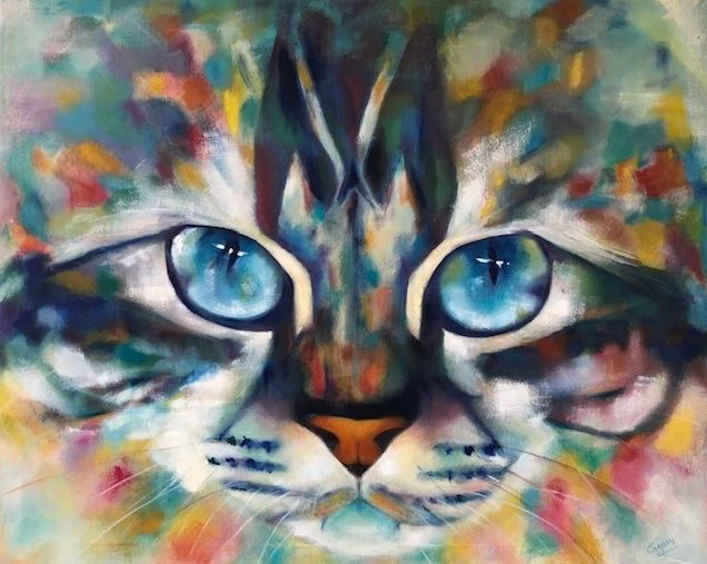the-queen.jpg - Painting,  80x100x3 cm ©-2 by ghislaine moitry-dieval -                                                        Contemporary painting, Canvas, Animals