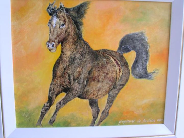 cheval au galop - Painting,  15x18.1 in, ©2005 by Ghyslaine De Sevlian -                                                              animalier