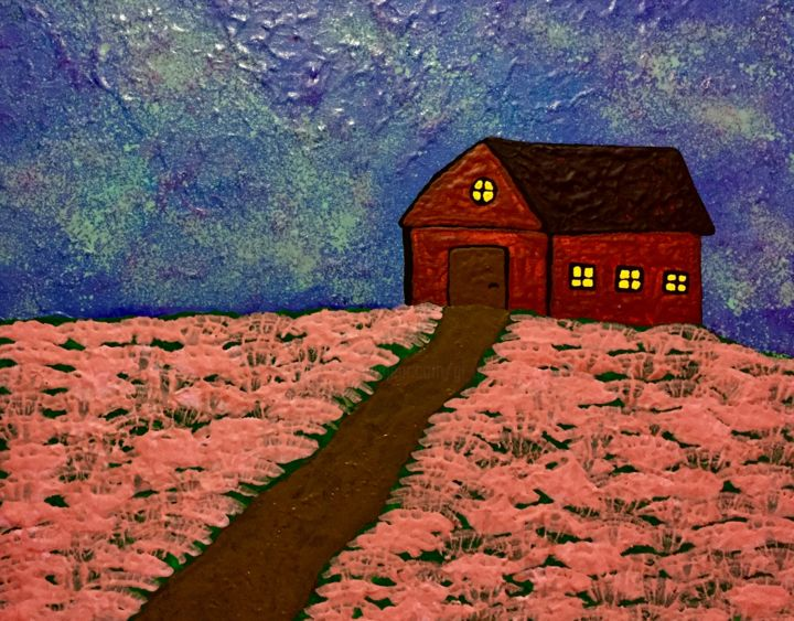 Starlight Night - Painting,  15.8x19.7x0.6 in, ©2019 by Pictures from GI ART -                                                                                                                                                                                                                                                                                                                                                                                                                                                                                                                                                                                                                                                                                  Naive Art, naive-art-948, Architecture, Botanic, Colors, Landscape, Nature, stars, night, house, flowers, road, nature, landscape