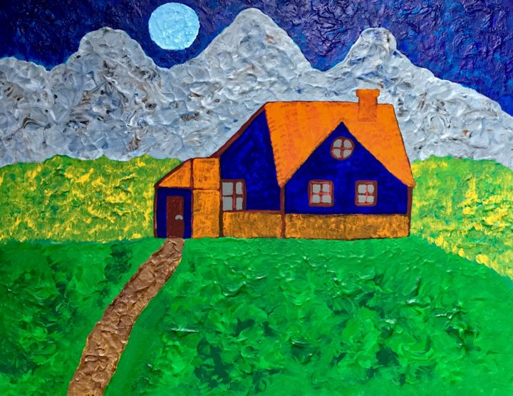 House on the hill - Painting,  15.8x19.7x0.6 in ©2019 by GI ART -                                                                                Naive Art, Architecture, Colors, Home, Landscape, house, moon, mountains, hills, nature, landscape