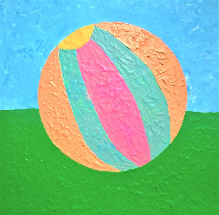 Ball from childhood - Peinture,  15,8x15,8x0,6 in, ©2019 par Pictures from GI ART -                                                                                                                                                                                                                                                                                                                                                                                                                                                      Naive Art, naive-art-948, Couleurs, ball, game, fun, life, childhood, time