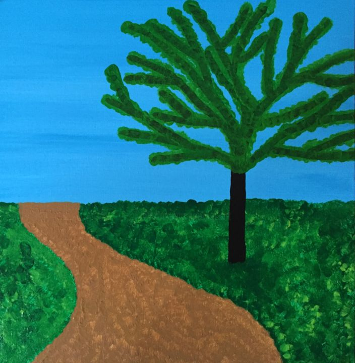 Rural road - Painting,  19.7x19.7x1.4 in, ©2015 by Pictures from GI ART -                                                                                                                                                                                                                                                                                                                                                                                                                                                                                                                                                                                          Naive Art, naive-art-948, Tree, Botanic, Colors, Nature, Landscape, road, rural, landscape, tree, heaven