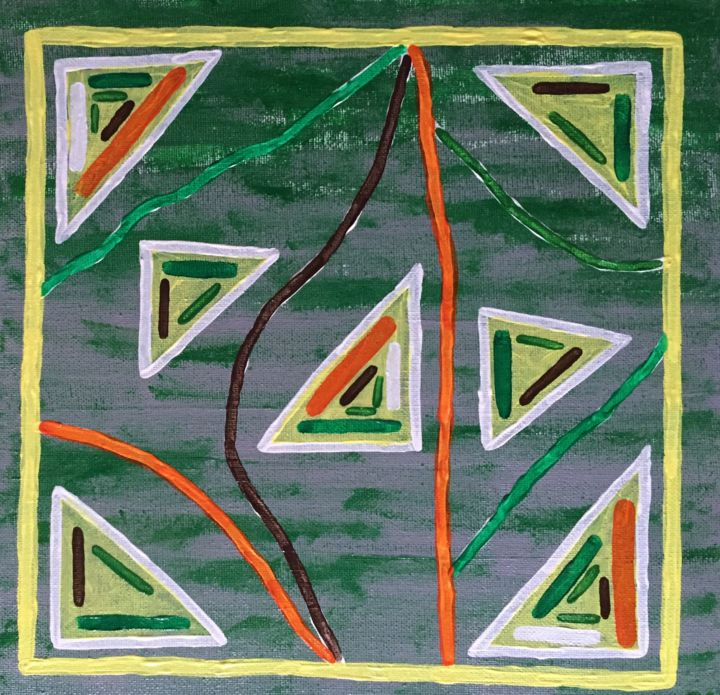 Seven triangles - Peinture,  19,7x19,7x1,4 in, ©2015 par Pictures from GI ART -                                                                                                                                                                                                                                                                                                                                                                                      Couleurs, Géométrique, Patterns, triangles, lines, figures, colorful, design