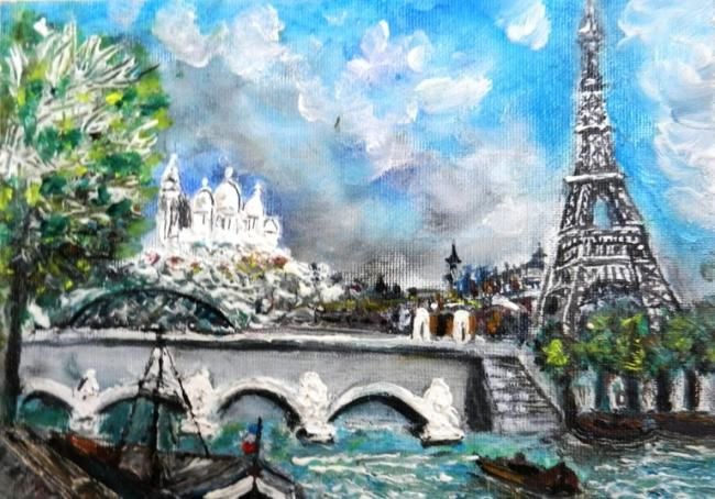 Parigi - Painting,  32x26 cm ©2012 by Giancarla -