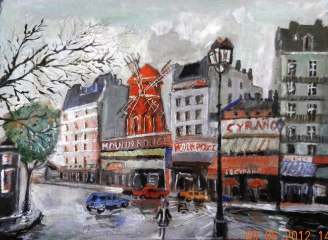 Moulin Rouge - Painting,  35x25 cm ©2012 by Giancarla -