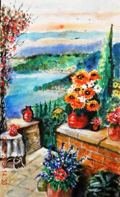 Terrazza con vista - Painting,  45x25 cm ©2012 by Giancarla -