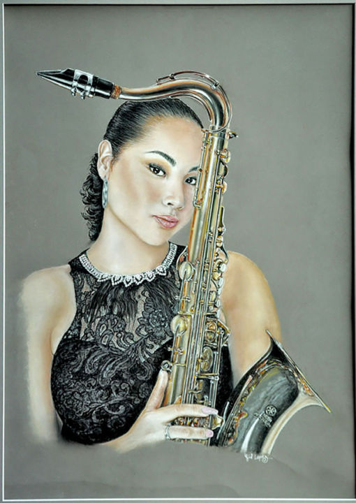 Sexy saxo - Painting,  23.6x15.8x0.8 in, ©2020 by Gil Lopez -                                                                                                                                                                                                                                                                                                                                                                                                                                                      Hyperrealism, hyperrealism-612, Portraits, portrait, saxophone, pastel, gil, lopez, saxophoniste