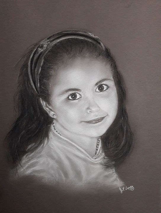Jade - Painting,  19.7x15.8 in, ©202 by Gil Lopez -                                                                                                                                                                                                                                                                                                                                                                                                                                                                                                  Hyperrealism, hyperrealism-612, Portraits, hyperréalisme, portrait, fille, gil, lopez, sur commande, d'après photo