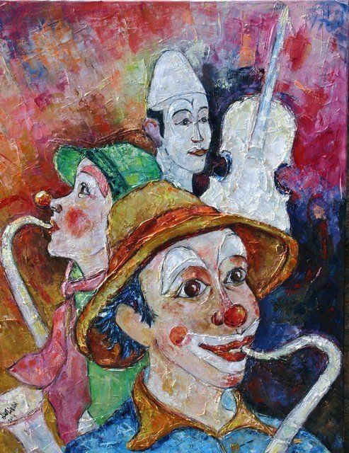 Clowns mucisiens - Painting ©2009 by Gilbert LIBLIN -            Tableau de clowns mucisiens
