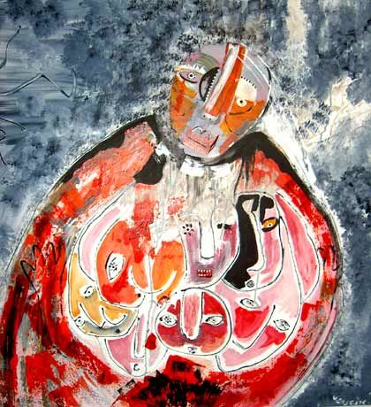 mère porteuse ! - Painting,  39.4x39.4x0.4 in, ©2006 by Virginie Descure -