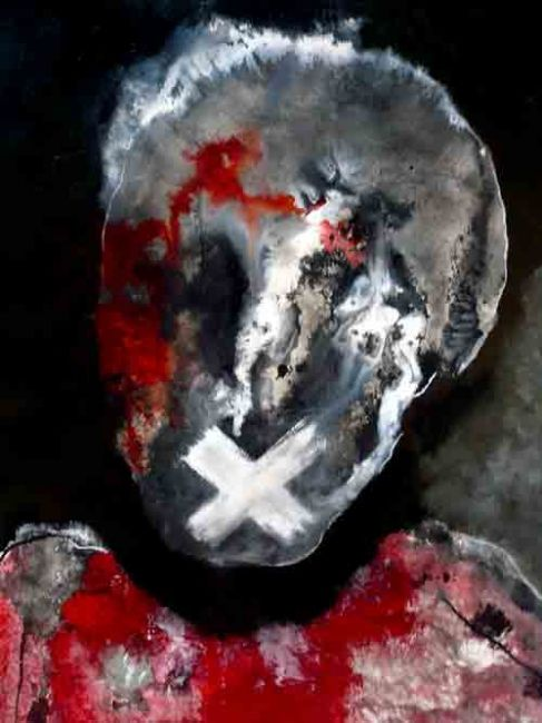 vox populi - Painting,  27.6x19.7x0.4 in, ©2011 by Virginie Descure -                                                              portrait