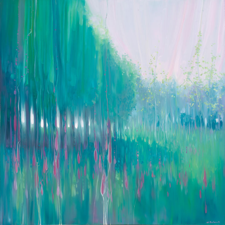 Timeless Meadow - An English Meadow in June - Painting,  40x40x1.5 in, ©2018 by Gill Bustamante -                                                                                                                                                                                                                                                                                                                                                          Abstract, abstract-570, Abstract Art, Fairytales, Flower, Garden, Landscape
