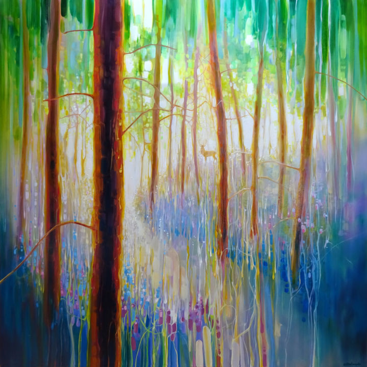 Bluebell Symphony - a very large oil painting - © 2018  Online Artworks