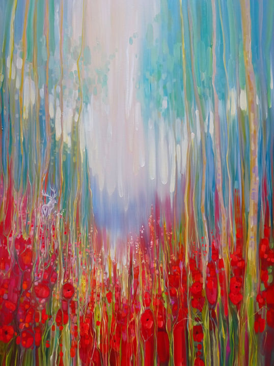 White Hart's Summer Valley - a summer landscape - Painting,  40x30x1.5 in ©2018 by Gill Bustamante -                                                                                                                                    Abstract Art, Art Nouveau, Contemporary painting, Expressionism, Canvas, Abstract Art, Animals, Nature, Tree, poppy painting, summer landscape, aummer abstract, red painting, white deer, white hart, white stag, wildflowers, poppy fields, summer valley, meadow