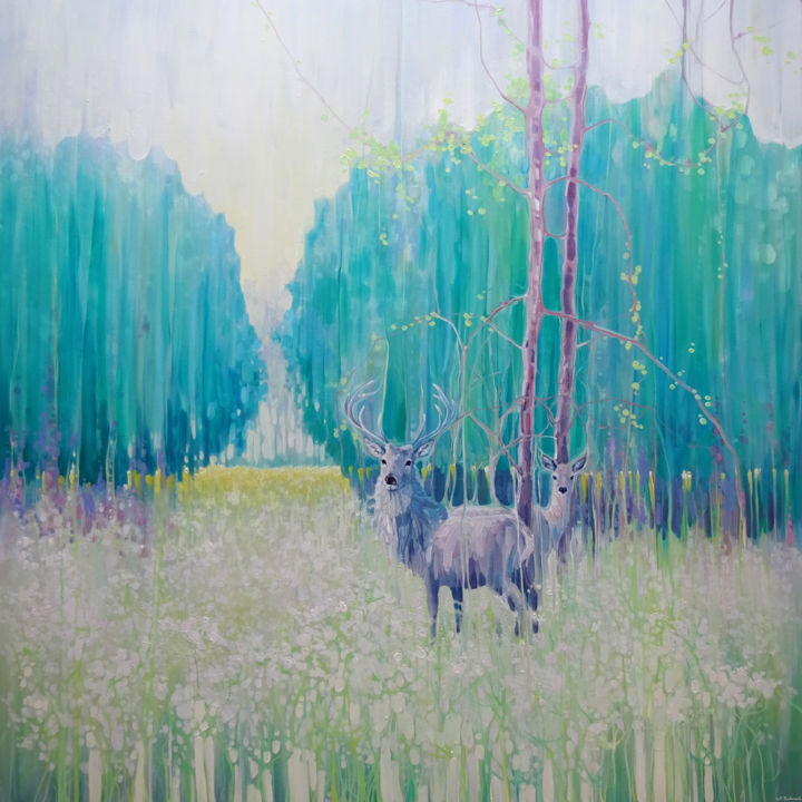 Monarchs of Spring - a large oil painting of a gre - Painting,  40x40x1.5 in ©2019 by Gill Bustamante -                                                                                                                                                            Abstract Art, Abstract Expressionism, Art Deco, Art Nouveau, Contemporary painting, Expressionism, Canvas, Abstract Art, Animals, Landscape, Nature, Gill Bustamante paintings, deer, deer paintings, spring meadow, wildflower meadow, sussex, sussex artists, staf, green art, green landscapes, deer in field