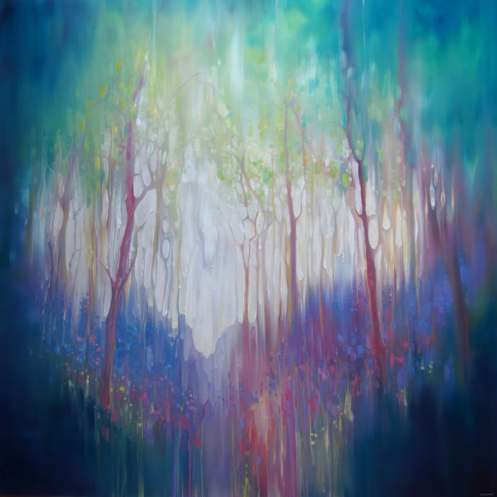 Through the Veil - a landscape with crows - Painting,  40x40x1.5 in, ©2019 by Gill Bustamante -                                                                                                                                                                                                                                                                                                                                                                                                                                                                                                                                                                                                                                      Abstract, abstract-570, Abstract Art, Colors, Fairytales, Flower, Landscape, bluebell wood, bluebell abstract, woodland abstract, bluebell paintings, sussex landscapes, Gill Bustamante