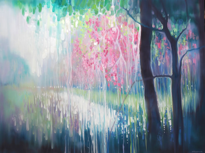 Song of April - a large abstract landscape - Painting,  36x48x1.5 in ©2019 by Gill Bustamante -                                                                                                                                                                                    Abstract Art, Art Nouveau, Contemporary painting, Impressionism, Canvas, Abstract Art, Animals, Fairytales, Flower, Landscape, Music, Nature, Spirituality, springtime, blossom, bluebells, wildflowers, river bank, sussex landscapes, sussex artists, Englaish landscape, modern landscapes, abstract landscape, deer by river, spring in sussex, Gill Bustamante