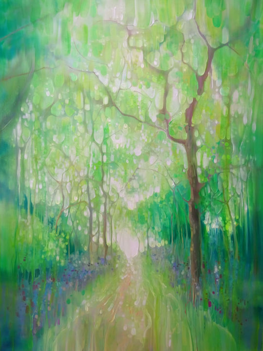 Green Forest Calling - A green forest painting - © 2019 green, green paintings, woodland, forests, green path, bluebells, free, escape Online Artworks