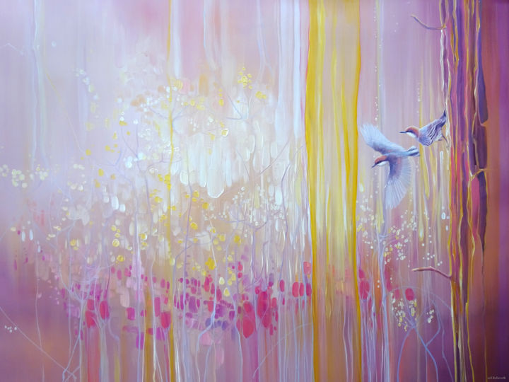 A Piece of Magic - a pink abstract painting - Painting,  30x40x1.5 in ©2019 by Gill Bustamante -                                                                                                                    Abstract Art, Art Deco, Art Nouveau, Contemporary painting, Abstract Art, Birds, Landscape, Nature, nuthatch, pink paintings, Gill Bustamante