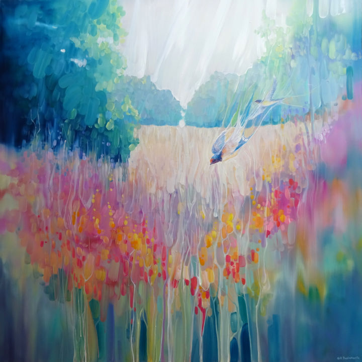 Summer Playground with swallows - Painting,  40x40x1.5 in ©2019 by Gill Bustamante -                                                                                                                                Abstract Art, Art Nouveau, Contemporary painting, Expressionism, Abstract Art, Birds, Flower, Landscape, Nature, swallows, wildflowers, sussex, summer, birds, abstract flowers, abstract birds, rural, countryside, fields, meadows