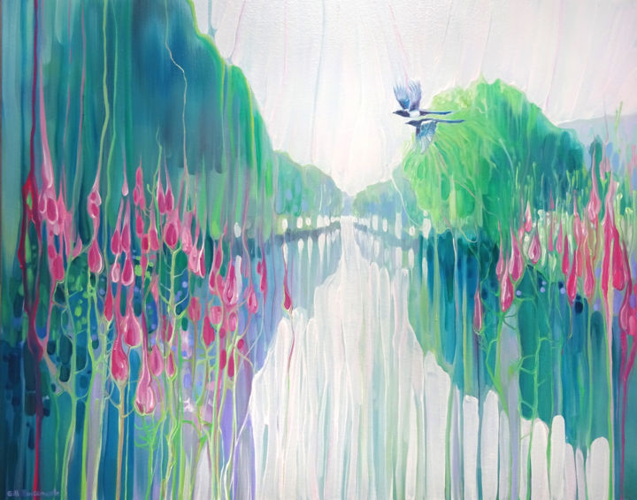Sussex River - Painting,  24x30x0.5 in ©2019 by Gill Bustamante -                                                                                                                    Abstract Art, Art Nouveau, Contemporary painting, Birds, Fairytales, Fantasy, Flower, Landscape, riverbank, sussex river, ouse valley, pink flowers, wildflowers, down the river, up the river, magpies