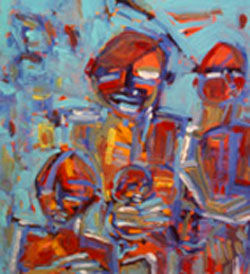 Famille nombreuse - Painting,  29.1x23.6 in, ©2006 by Gilles Bizien -