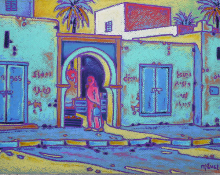 Le petit souk à IFNI - Painting,  24x32 cm ©2018 by Gilles Mével -                                                                        Figurative Art, Fauvism, Paper, World Culture, pastel, maroc, sidi ifni, composition, graphisme, couleurs, lumiére
