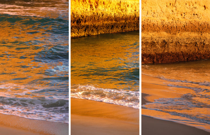 triptyque sans titre - Photography,  40x60x2 cm ©2019 by Gilles Mével -                                                                                                Photorealism, Aluminum, Paper, Nature, Seascape, Travel, photo, triptyque, composition, lumiére, couleur, Limited Edition