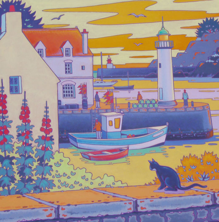 Port de Sauzon, Belle-Ile - Painting,  31.5x31.5 in, ©2008 by Gilles Mével -                                                                                                                                                      peinture, bretagne, sauzon