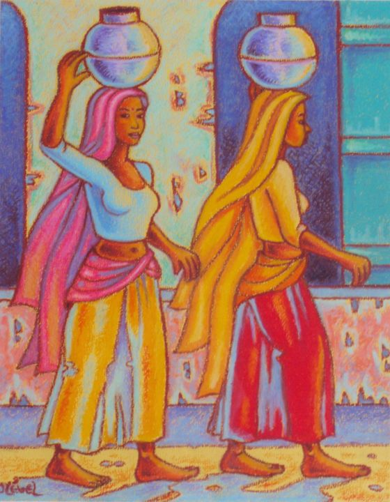 Indiennes du Rajahstan - Painting,  12.6x9.5 in, ©2006 by Gilles Mével -                                                                                                                                                                                                                                                                      Fauvism, fauvism-942, Women, inde, personnages