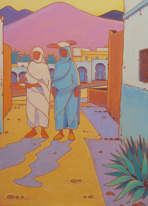 ifnawias - Painting,  27.6x19.7x2 in, ©2009 by Gilles Mével -                                                                                                                                                                                                                                                                                                                                                                                                                                                                                                  Fauvism, fauvism-942, Women, World Culture, Travel, peinture; personnages, sud maroc, composition, graphisme, couleurs