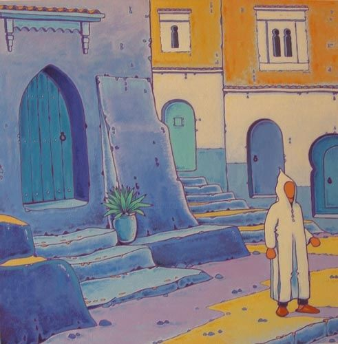 Rue de Chefchaouen - Painting,  23.6x23.6x0.8 in, ©2009 by Gilles Mével -                                                                                                                                                                                                                                                                                                                                                                                                                                                                                                                                                                                                                                      Fauvism, fauvism-942, Men, World Culture, Travel, peinture, village, bleu, maroc, chefchaouen, composition, graphisme, couleurs