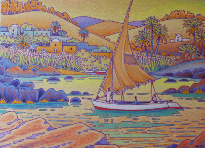 le nil a aswan - Painting,  17.7x25.6 in, ©2010 by Gilles Mével -                                                                                                                                                                                                  pastel, egypte, nil, assouan