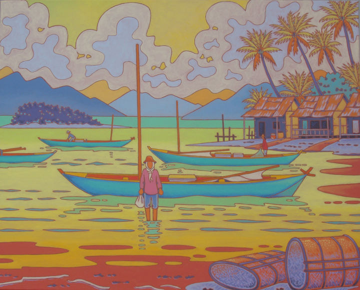 kep ; cambodge - Painting,  31.5x39.4x2 in, ©2011 by Gilles Mével -                                                                                                                                                                                                                                                                      Fauvism, fauvism-942, Asia, barques, cambodge
