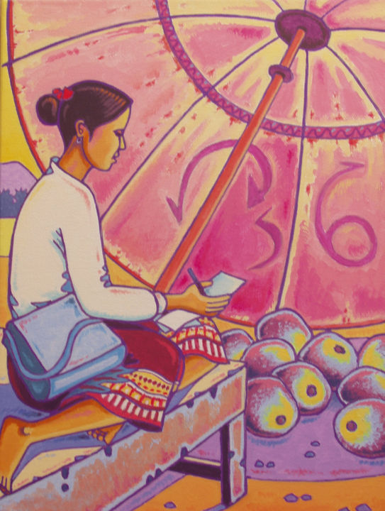 femme Lao - Painting,  15.8x11.8x2 in, ©2013 by Gilles Mével -                                                                                                                                                                                                                                                                                                                                                              Fauvism, fauvism-942, Women, femme, asie, laos, voyage