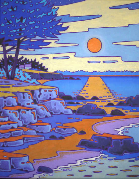 lune rousse - Painting,  19.7x2x15.8 in, ©2014 by Gilles Mével -                                                                                                                                                                                                                                                                                                                                                              Fauvism, fauvism-942, Seascape, pleine lune, lune rousse, bleu, bretagne
