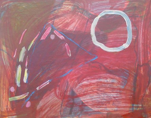 Rouge - Malerei,  28,7x36,2 in, ©2008 von Gimalac -                                                                                                                                                                                                  composition en dominante rouge, peinture acrylique, superposition, transparence