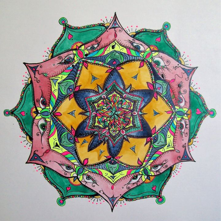 mandala-2018-janv.jpg - Painting,  56x56 cm ©2018 by Ginette Richard -                                                        Abstract Art, Paper, Abstract Art