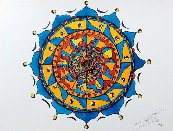 mandala-2016-06-10-1.jpg - Drawing,  22x30 cm ©2016 by Ginette Richard -